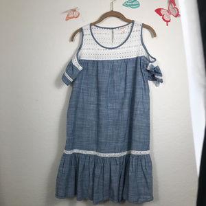Cat & Jack Cold Shoulder Denim Look Dress XXL